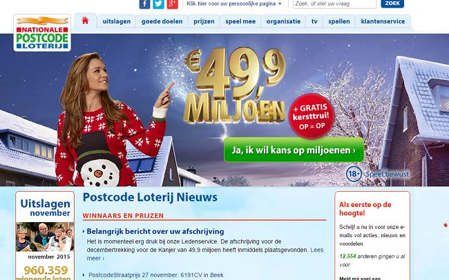 Kersttrui Postcodeloterij.Dutch Postcode Lottery Loterij Online